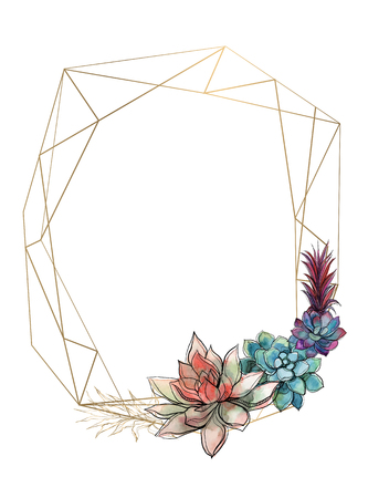 Gold geometric frame with succulents. Invitation. Vector.Watercolor Graphics Ilustrace