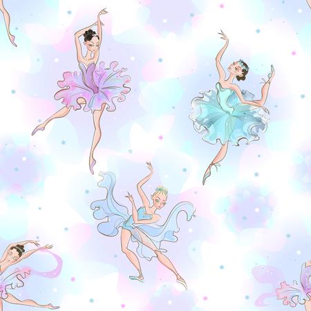 Ballerinas. Seamless pattern. Little princess  Dance Vector illustration