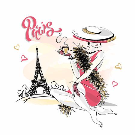 La fille au chapeau boit du café. Mannequin à Paris. Tour Eiffel. Composition romantique. Modèle élégant en vacances. Vecteur. Vecteurs
