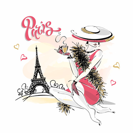The girl in the hat drinks coffee.  Fashion model in Paris. Eiffel tower. Romantic composition. Elegant model on vacation. Vector. Иллюстрация