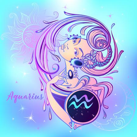 Signe du zodiaque Verseau une belle fille. Horoscope. Astrologie. Vecteur