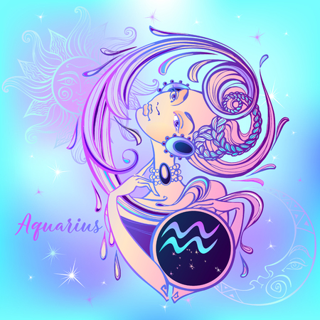 Zodiac sign Aquarius a beautiful girl. Horoscope. Astrology.  Vector Illustration