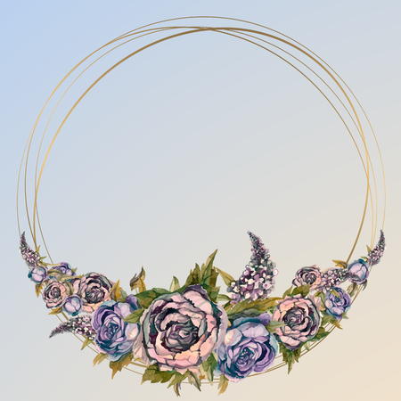 Round gold frame with watercolor flowers. A garland of peonies and lilacs