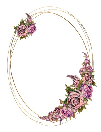 Oval gold frame with pink watercolor flowers. Wedding frame with watercolor garlands of peonies of roses and lilacs