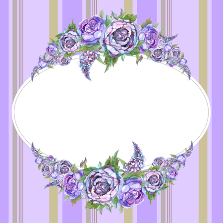 Wedding frame with watercolor garlands of peonies of roses and lilacs