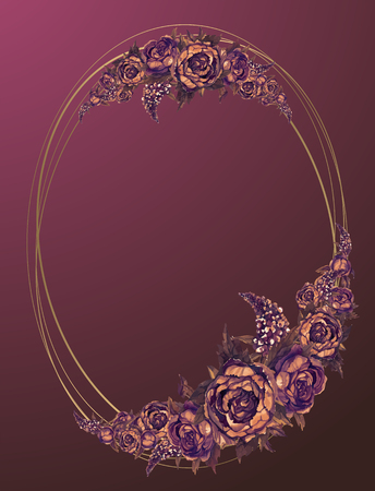 Oval gold frame with Burgundy watercolor flowers. Ilustrace