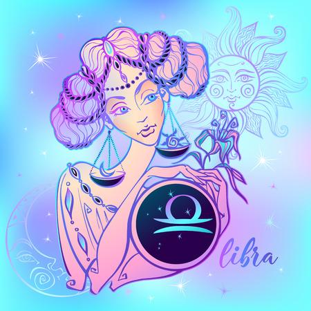 Sternzeichen Waage ein schönes Mädchen. Horoskop. Astrologie. Vektor
