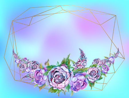 Gold geometric frame with garland of flowers. Illustration