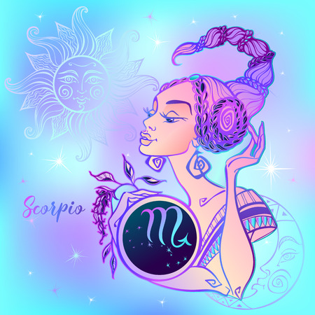 Zodiac sign Scorpio a beautiful girl. Horoscope. Astrology. Vector Ilustracja