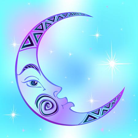 Lune. Mois. Symbole astrologique antique. Gravure. Style bohème. Ethnique. Le symbole du zodiaque. Vecteur mystique ésotérique