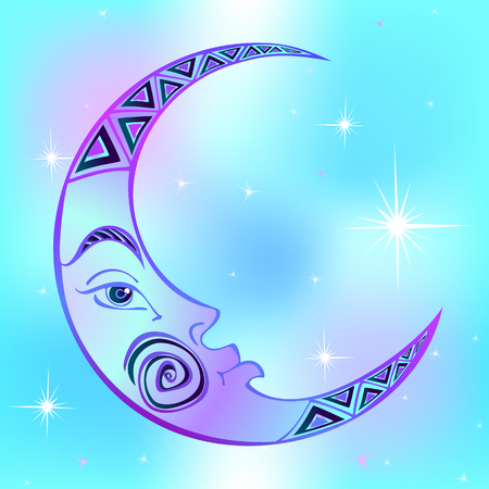 Moon. Month. Ancient astrological symbol. Engraving. Boho Style. Ethnic. The symbol of the zodiac. Esoteric Mystical Vector