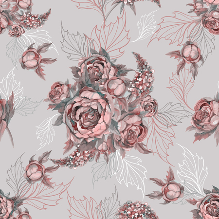 Floral seamless pattern Bouquet of roses peonies and lilacs Illustration