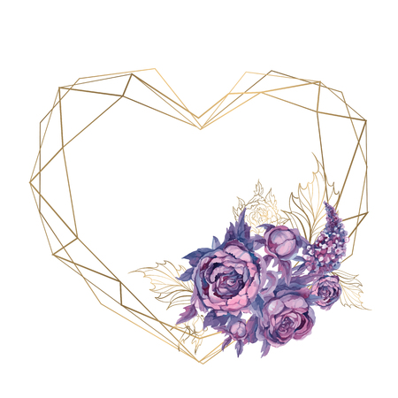 Card frame in the shape of a heart with a bouquet of flowers