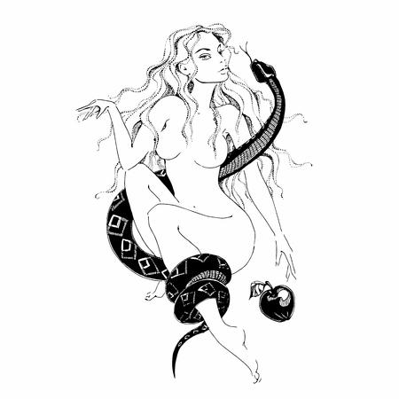 Ragazza con un serpente e una mela. Eva.Grafica. Tatuaggio. Vettore Vettoriali