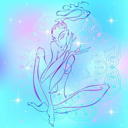 Meditation. Girl meditating. Reiki energy Healing Esotericist Vector