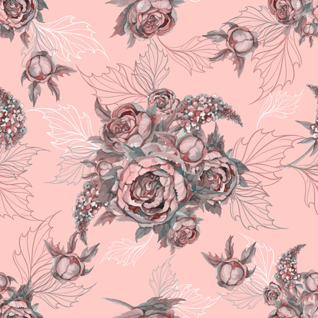 Floral seamless pattern Bouquet of roses peonies and lilacs. Illustration