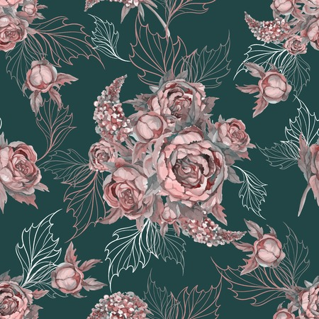 Floral seamless pattern Bouquet of roses peonies and lilacs. Vector.