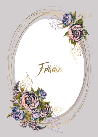 Oval festive frame with with bouquets of flowers .