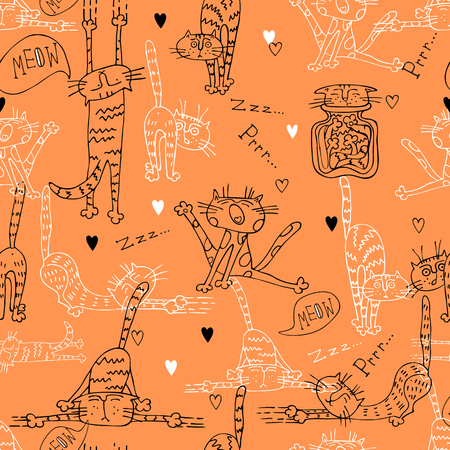 A fun seamless pattern with cute cats on an orange background. 向量圖像