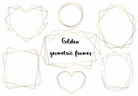 Geometric gold frames. Samples for cards and invitations. Vector