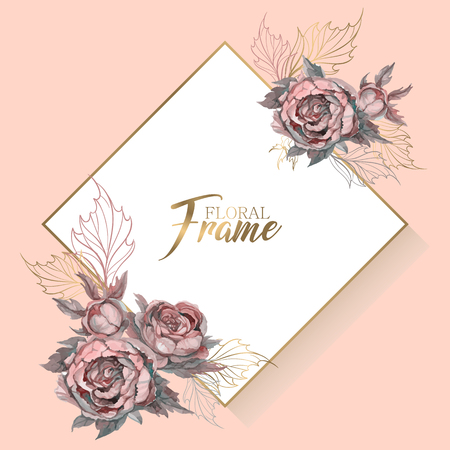 Wedding frame with flowers invitation