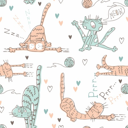 Pattern for children with cute cats