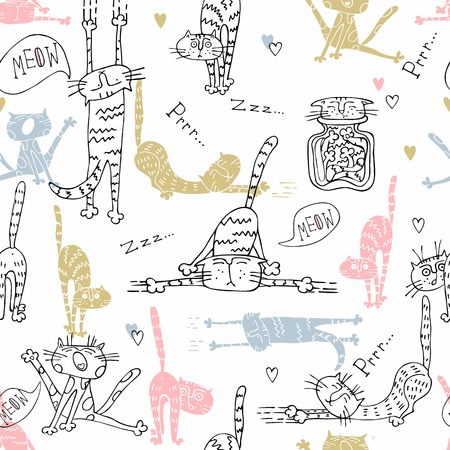 Seamless pattern with funny cats in cute style. Vector.