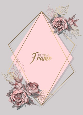 Geometric frame wedding invitation with watercolor flowers. Banco de Imagens - 124820340