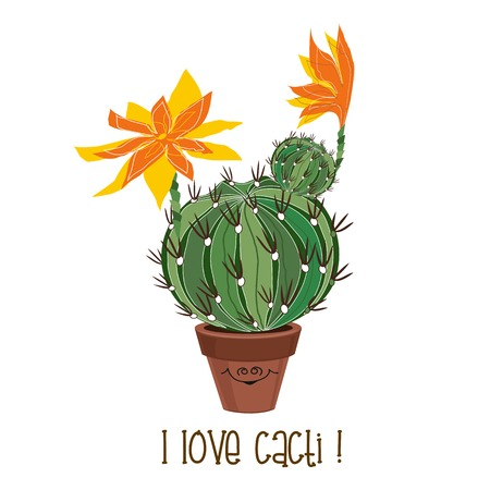 Round blooming cactus. Cacti Vector illustration Ilustrace