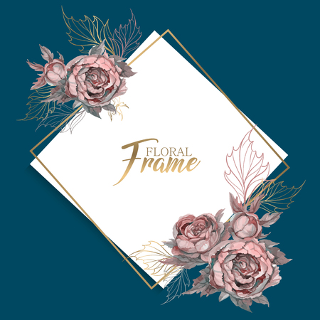 Wedding frame with flowers invitation Banco de Imagens - 124820344