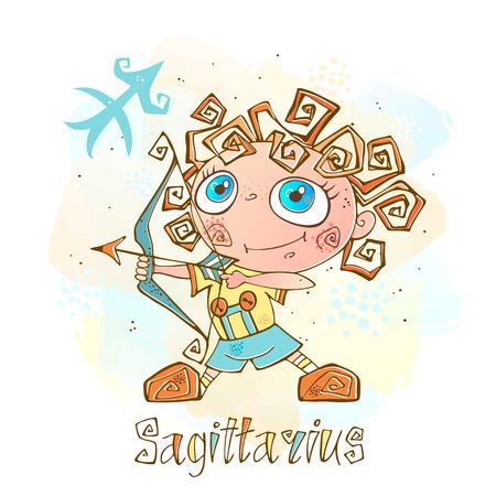 Zodiac for kids. Sagittarius Cute style