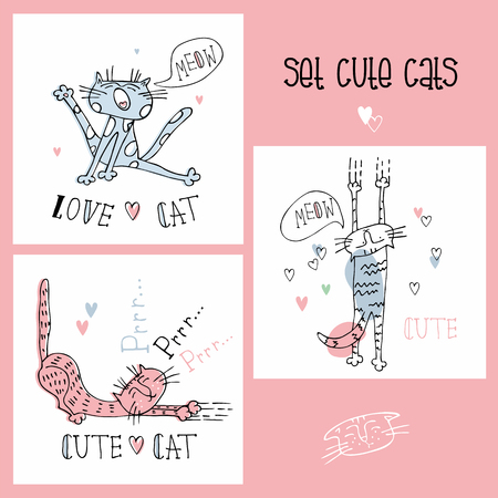 Set of funny cats in a cute style.