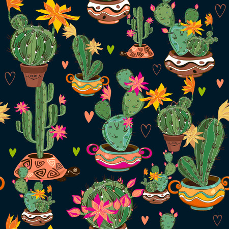Seamless pattern with with cute cacti.