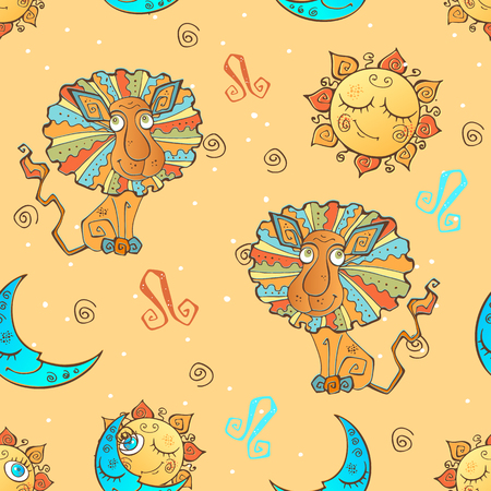 fun seamless pattern for kids. Zodiac sign Leo. Vector.