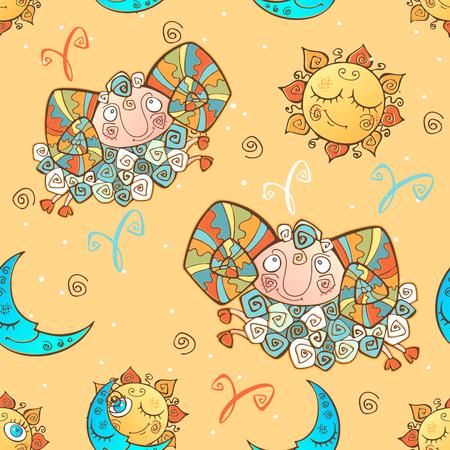 A fun seamless pattern for kids. Zodiac sign Aries. Vector