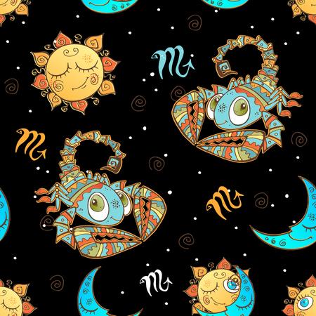 A fun seamless pattern for kids. Zodiac sign Scorpio. Ilustração