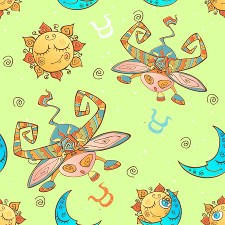 A fun seamless pattern for kids. Zodiac sign Taurus. Vector Ilustração
