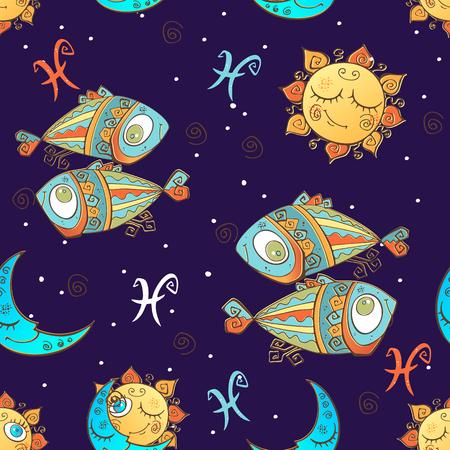 A fun seamless pattern for kids. Zodiac sign Pisces. Vector Ilustração