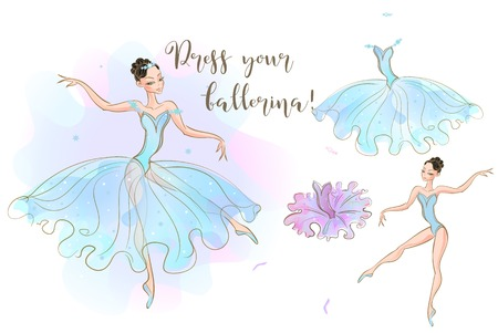 Set for girls. A ballerina doll and a set of clothes made of two dresses. Vector Illustration