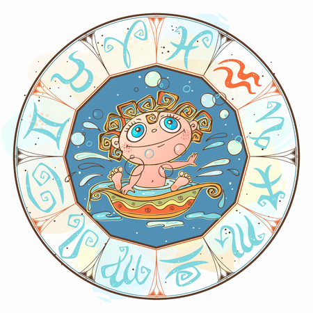 Zodiac for kids. Aquarius sign  Vector