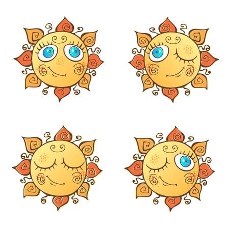 A set of cheerful suns in cartoon style.  イラスト・ベクター素材