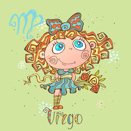 Childrens horoscope icon. Zodiac for kids. Virgo sign . Vector. Astrological symbol as cartoon character Illustration