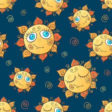 Cheerful childrens seamless pattern with suns.  イラスト・ベクター素材
