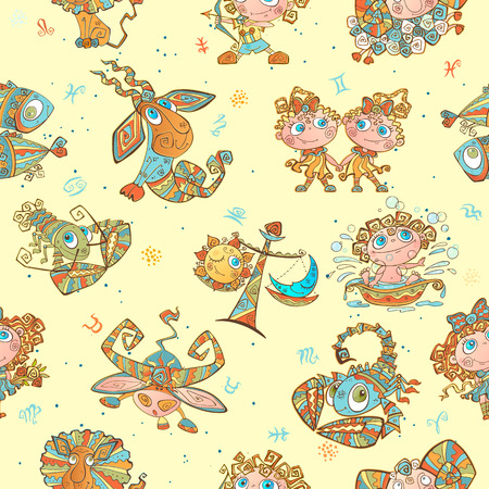 Seamless pattern with zodiac signs for kids. Vector. zodiac circles