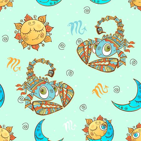 A fun seamless pattern for kids. Zodiac sign Scorpio. Vector