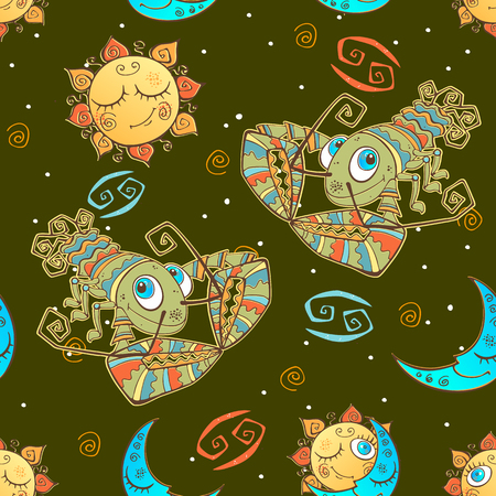 A fun seamless pattern for kids. Zodiac sign Cancer. Vector.