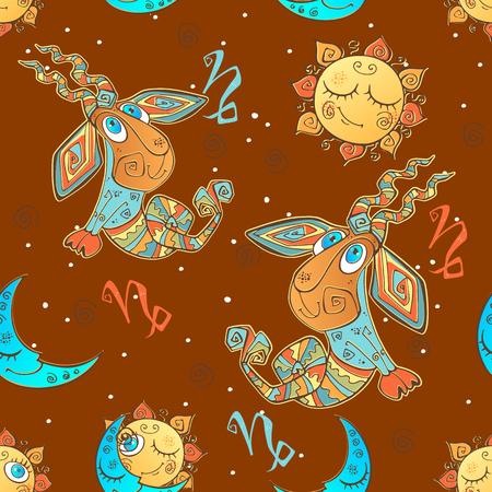 A fun seamless pattern for kids. Zodiac sign Capricorn. Vector.