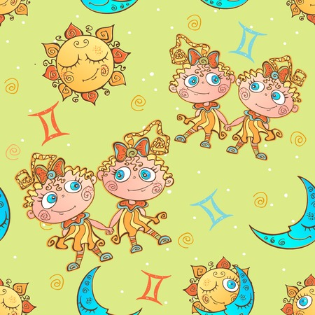 A fun seamless pattern for kids. Zodiac sign Gemini. Vector.