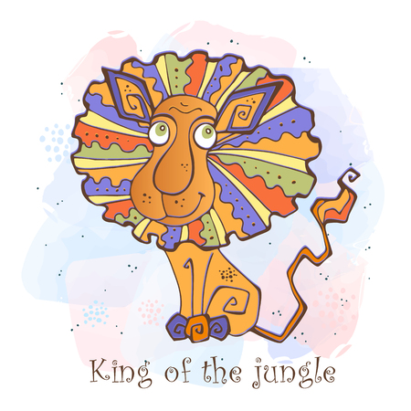 Cartoon lion in a cute style. King of the jungle.