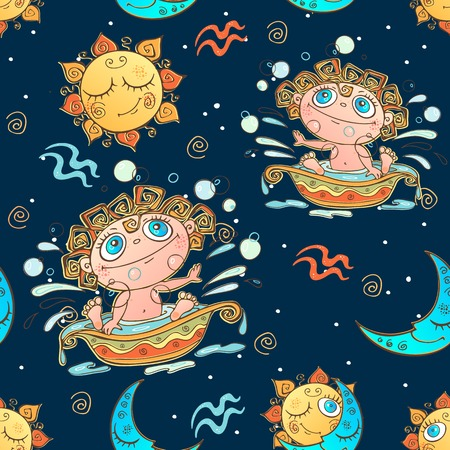 A fun seamless pattern for kids. Zodiac sign Aquarius. Vector. Ilustração